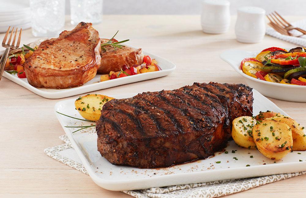 plated pork chop and steak